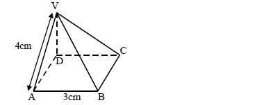 the diagram below represents a right pyramid on a square base of side 3cm   the slant edge of the pyramid is 4cm