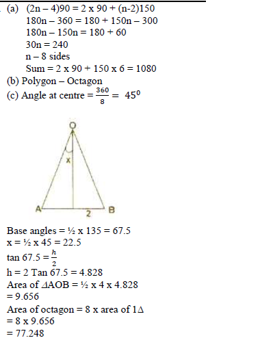 In An N Sided Polygon Two Angles Are Right Angles And Each Of The