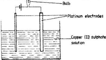 The set-up below was used during the electrolysis of aqueous