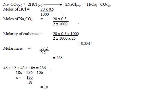 57 2g of hydrated sodium carbonate (Na<sub>2</sub>CO<sub>3</sub> XH