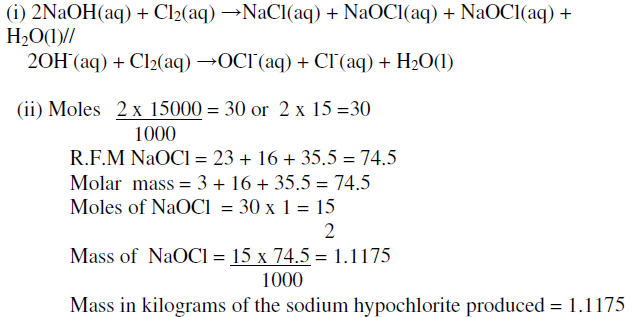 In the preparation of a bleaching agent (Sodium hypochlorite