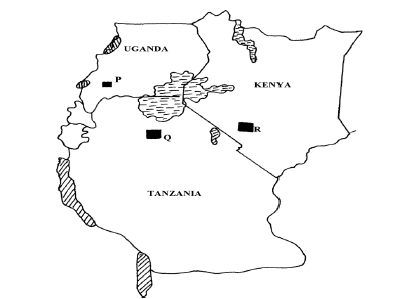 Use the map of East Africa below to answer the question that follow.