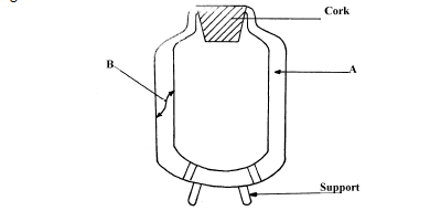 Figure below shows a cross-section of a vacuum flask (i