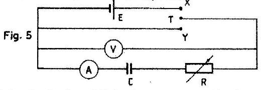 Fig 5 shows a circuit for changing and discharging a capacitor c