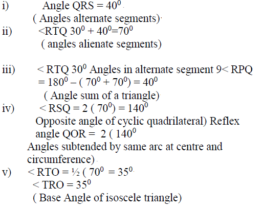 In the figure below, 0 is the centre of the circle  PQ and