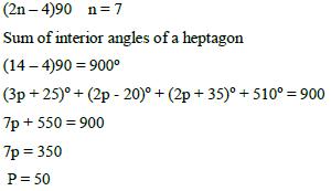 The Interior Angles Of A Heptagon Are 3p 25 Sup O Sup